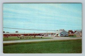 Cheboygan MI- Michigan, Moon E Motel, Advertising, Panoramic, Chrome Postcard