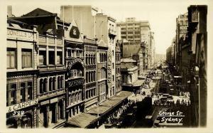 australia, SYDNEY, N.S.W., George Street, Shops, Cars Tram (1910s) RPPC Postcard