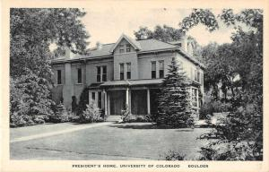 Boulder Colorado University Presidents Home Antique Postcard J51311