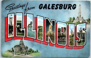 Galesburg, ILLINOIS Large Letter Postcard w/ State Capitol KROPP Linen c1940s
