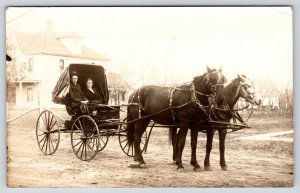 Real Photo Postcard~Bessie Hill & Frank Summers in Horse Buggy~c1912 RPPC
