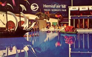 TX - San Antonio, 1968. HemisFair '68. Waterway in Plazas of the World