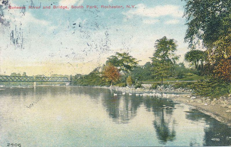 Genesee River & Bridge at South Park (Genesee Valley Park) Rochester NY pm 1912