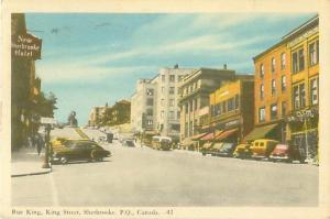 Quebec, Canada King Street New Sherbrooke Hotel, Old Cars1958 Postcard