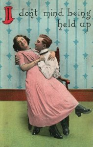 Vintage Postcard 1910's Man & Woman in Love I don't mind being held up.  Love