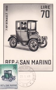 REP. di SAN MARINO, 1962, Maximum Card, 7 HP Renault 1904
