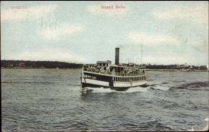 Maine Steamer Ship Island Belle - Boothbay Harbor ME Cancel c1910 Postcard