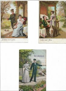Romantic - Artist Signed Illustrated Lot of 6 Postcards 01.08