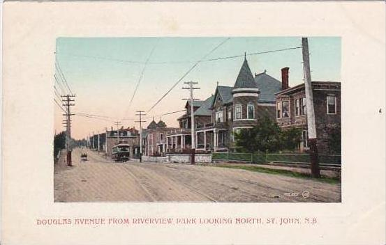 Canada New Brunswick Douglas Avenue Looking North With Trolley