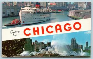 Postcard IL Banner Dual View Greetings From Illinois Chicago Vintage 2 O13
