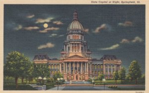 SPRINGFIELD, Illinois, 30-40s; State Capitol at Night