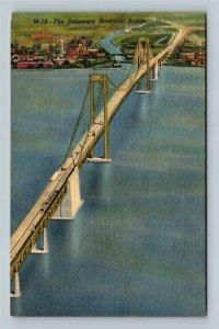 Wilmington DE, Delaware Memorial Bridge, Linen Delaware Postcard