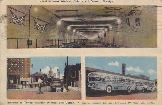 Michigan Detroit Tunnel Entrance and Buses 1945