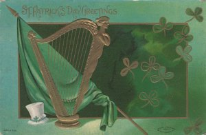 ST PATRICK'S DAY ; Ireland Flag & Harp , 1909
