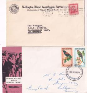 Wellington New Zealand Blood Transfusion Health Stamps 2x Hospital Postmark s