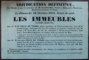 France - 1831 Poster Announcing Auction Sale of Land