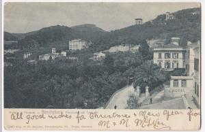 Italy; Bordighera, Panorama, Liguria PPC, Local 1904 PMK, Undivided Back