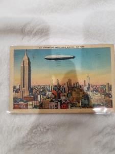Antique/Vintage Postcard, Midtown and Empire State Building, New York Zeppelin