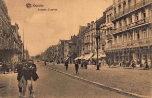 Belgium Knocke Avenue Lippens Street Market Grand Hotel Central Postcard