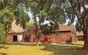 Stagecoach in setting of the old carriage house in Batsto, New Jersey