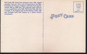 Tennessee colour PC Cane Creek Falls, Falls Creek Falls Park unused
