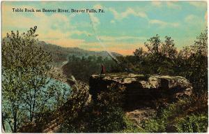 1912 Beaver Falls PA Table Rock on River Railroad Train Pennsylvania DB Postcard