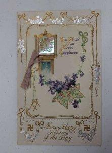 Birthday Greetings Grandfather Clock Novelty Fold Out Swastika Postcard AA1456