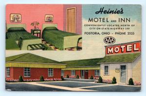 Postcard OH Fostoria Heinie's Motel & Inn Interior View Vintage Linen I11