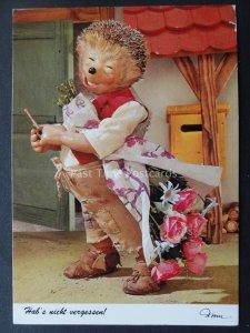 Mecki Hedgehog PIPE SMOKING & FLOWERS c1970/80's Postcard by Diehl Film 488