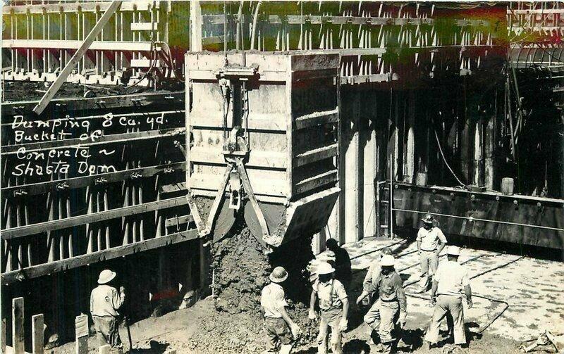 California Dam Construction 1930s Shasta Postcard Dumping concrete 20-10520