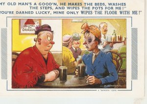 My old man's a good'n, e makes the beds.. Bamforth Comic Series postcard # 662