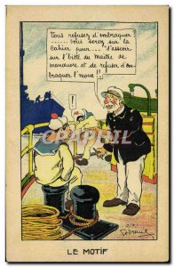 Old Postcard Militaria Humor Illustrator The Marine pattern