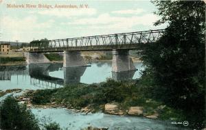 Amsterdam New York~Mohawk River Bridge~1910 Postcard