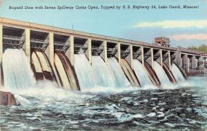 Lake Ozark Missouri~Bagnell Dam~Spillway Gates Open~1940s Postcard