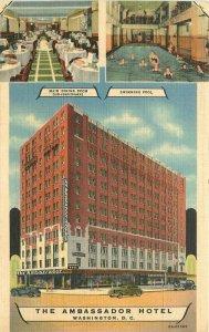 Ambassador Hotel autos Washington DC Postcard Teich linen 10444