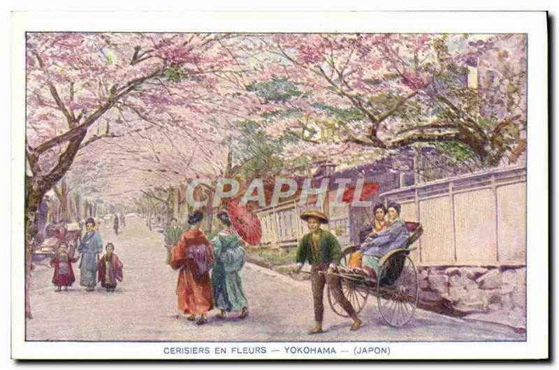 Old Postcard Japan Nippon Cherry blossoms Yokohama Folklore