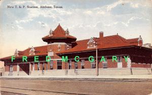 1912 Abilene Texas Postcard: Then-New Texas & Pacific Railway Depot, Trackside