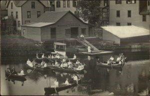 St. Johnsbury VT Cancel Riverside Canoe Club CRISP Real Photo Postcard