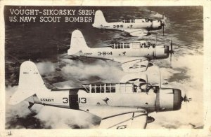 RPPC Vought-Sikorsky SB2U-1 U.S. Navy Scout Bomber WWII Aviation Postcard
