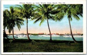 Palm Beach, Florida Postcard Private Yachts on Lake Worth 1933 FL Cancel