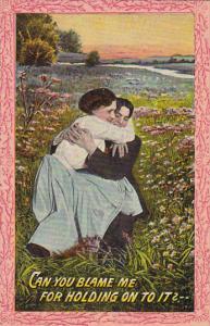 Romantic Couple In Field Of Flowers 1910