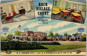 Springfield, Missouri ROUTE 66 Roadside Postcard ROCK VILLAGE COURT 1952 Linen