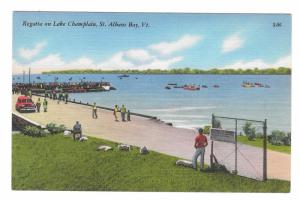 St Albans Bay Vermont Regatta on Lake Champlain Vintage Tichnor Linen Postcard
