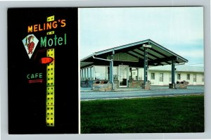 Monmouth IL-Illinois, Meling's Motel, Chrome Postcard