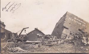 RP: Cyclone Damage , REGINA , Saskatchewan, Canada , 1912 ; Grain Elevators
