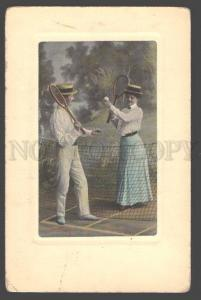 098256 Playing tennis in love pair Vintage tinted PC