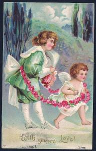 With Sincere Love Boy w/Cupid & Flowers used c1907