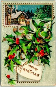 Vintage 1912 A MERRY CHRISTMAS Gold Embossed Postcard House Scene / Holly