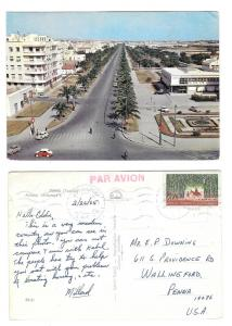 Tunisia Tunis Avenue Mohamed V Sc# 357 on Postcard 4X6