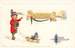 Christmas~Victorian Girl in High Button Shoes~Doll on Sled~Scroll Greeting~Emb